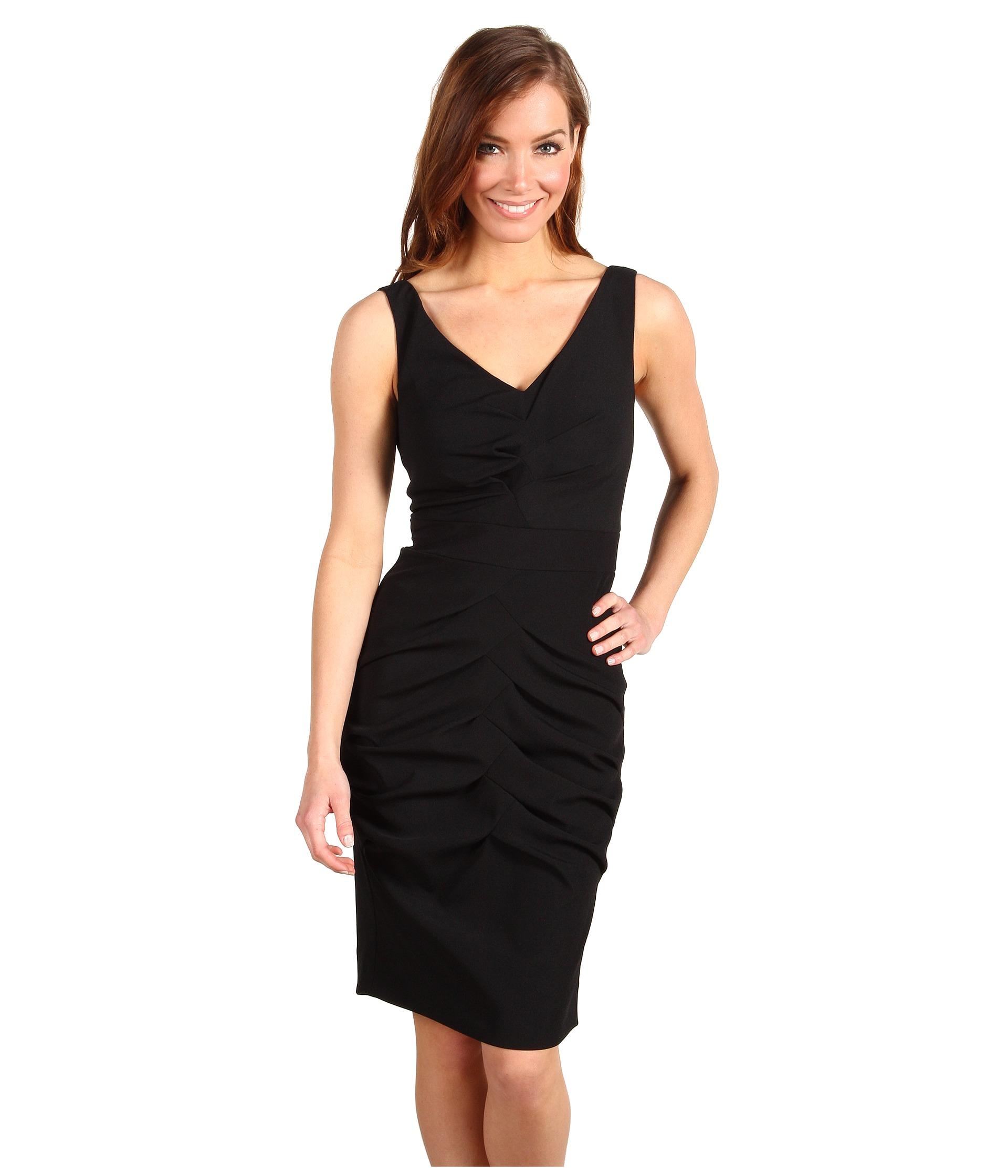 Nicole Miller Satin Crepe V Neck Pleated Dress $115.50 (  MSRP