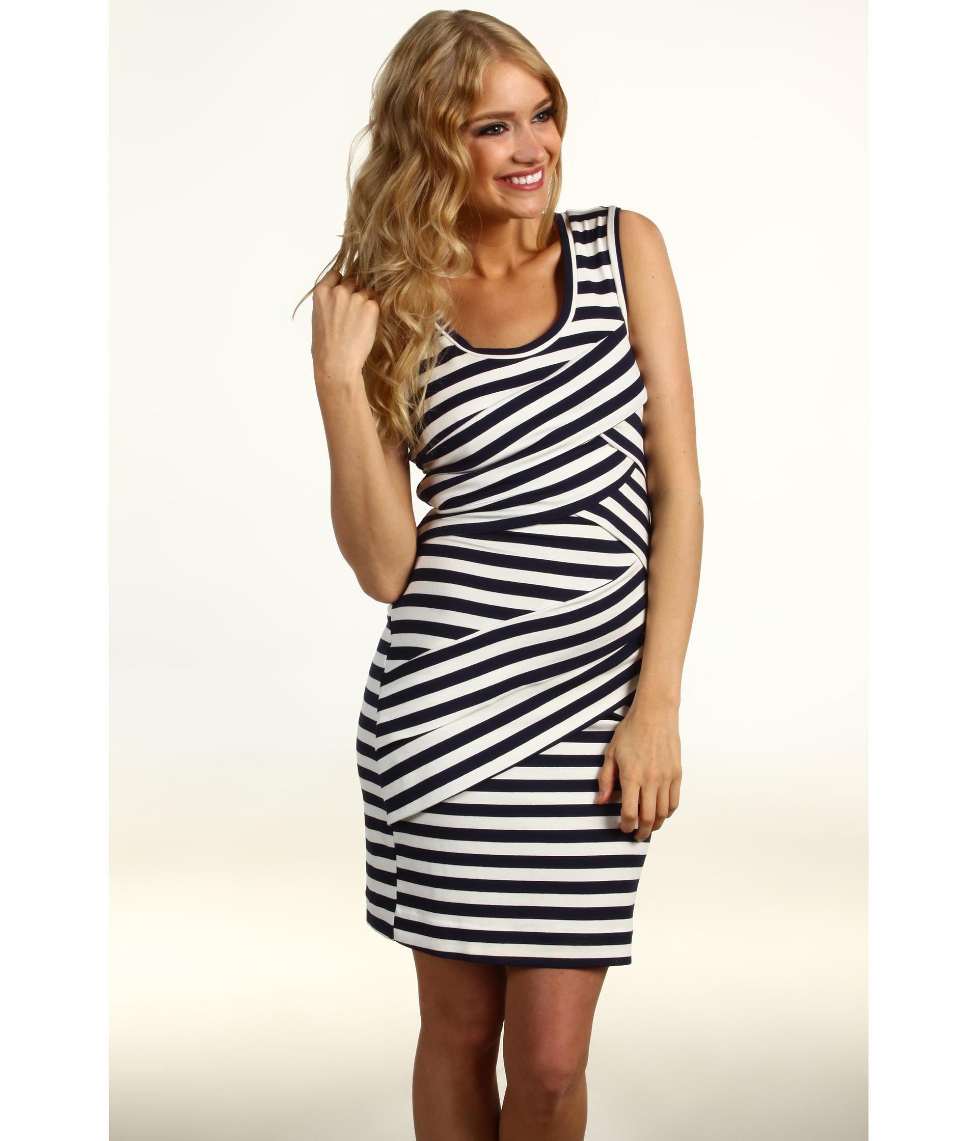 Nicole Miller   Striped Jersey Scoop Neck Dress