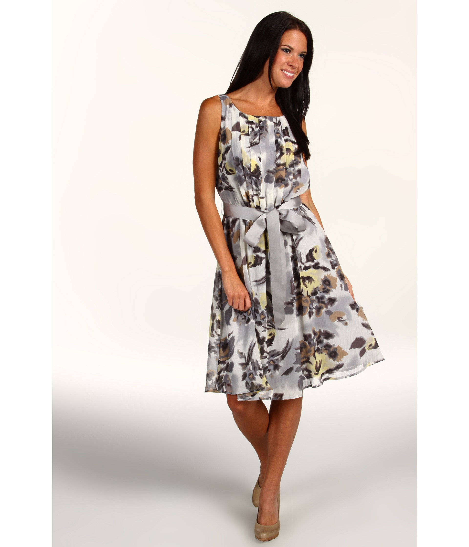 Jessica Howard Sleeveless Pleat Bodice Dress w/ Sash Belt $57.99 ( 35%