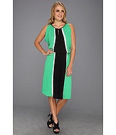 BCBGMAXAZRIA - Iona Color Blocked Dress w/Pleated Skirt