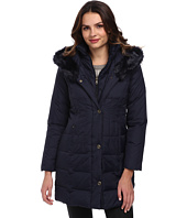 Larry Levine - 3/4 Length Down Coat w/ Soft Faux Fur Trim