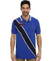 U.S. POLO ASSN. - Diagonal Stripes Short Sleeve Pique Polo
