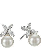 Majorica - 8mm Pearl w/ CZ Flower Earrings