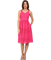 Donna Morgan - V- Neck Eyelet Dress w/ Set in Waistband and Full Skirt