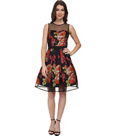 Eliza J - Sleeveless Party Dress with Flocked Dot Illusion