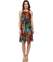 London Times - Printed Mesh Halter Dress