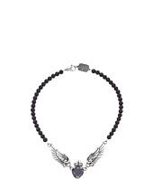 King Baby Studio - Black CZ Heart w/ Wings on 6mm Onyx Necklace 16
