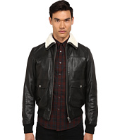 Just Cavalli - Leather Bomber w/ Shearling Collar
