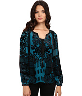 Hale Bob - American Beauty Silk/Rayon Velvet Burnout Blouse