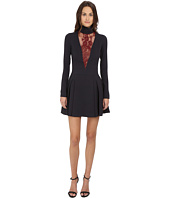 Just Cavalli - Woven Mock Neck Lace Inset Long Sleeve Dress