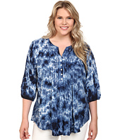 Karen Kane Plus - Plus Size Pintuck Pleated Tie-Dye Top