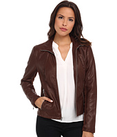 Kenneth Cole New York - Faux Leather Zip Front with Knit Trim