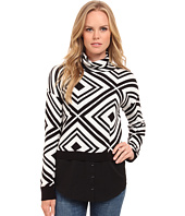 kensie - Cotton Blend Aztec Sweater KS9K5776