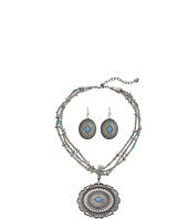 M&F Western - Triple Strand Oval Concho Necklace/Earrings Set