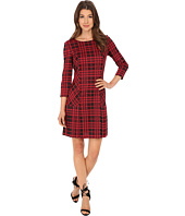 Tahari by ASL - Plaid Knit with Pleating Dress