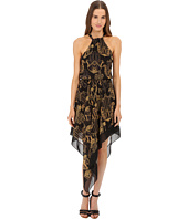 Versace Collection - Black and Gold Patterned Dress with Crisscross Back