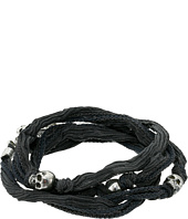 King Baby Studio - Multi Wrap Charcoal Silk Bracelet with Skulls