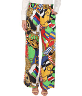 LOVE Moschino - Sailor Print Silk Gaucho Pants