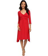 Mod-o-doc - Cotton Modal Spandex Jersey Braided Trim Empire Seamed V-Neck Dress