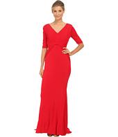 Badgley Mischka - Stretch Matte Jersey V-Neck Gown
