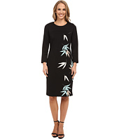 Vince Camuto - 3/4 Sleeve Floating Leaves Scuba Dress