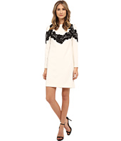 Adrianna Papell - Crepe Shift Dress with Lace Applique Trim