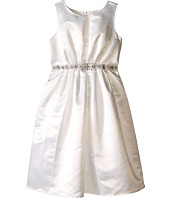 Us Angels - Sleeveless Satin Dress w/ Beaded Pleated Waist & Full Skirt (Big Kids)