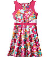 Us Angels - Scuba Sleeveless Fabric Color Block Bodice w/ Full Skirt (Big Kids)