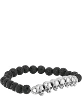 King Baby Studio - 8mm Lava Rock Beaded Bracelet with Multi Skull Bridge