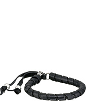 King Baby Studio - Thin Natural Wrap Black Leather Bracelet