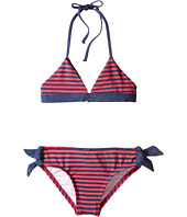 Splendid Littles - Malibu Stripe Reversible Triangle Bra & Retro w/ Ties (Little Kids)