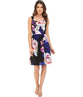 Adrianna Papell - Soft Gathered Skirt Rose Print Dress
