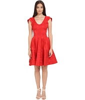 Zac Posen - Party Jacquard Cap Sleeve Fit and Flare Dress