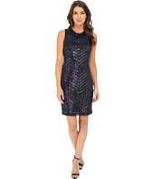 Vince Camuto - Deco Pattern Cracked Ice Sleeveless Sheath Dress