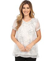 Vince Camuto - Short Sleeve Floral Contour Mix Media Blouse