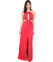 Aidan Mattox - Stretch Matte Jersey Long Gown with Cut Outs and Halter Neckline