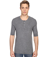 Vince - Wool Silk Short Sleeve Rib Henley