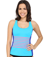 DKNY - A Lister Racerback Tankini w/ Stripping Detail & Removable Soft Cups