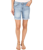 Liverpool - Corine Rolled Denim Shorts with Fringe Hem in Belmont Beach Blue