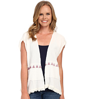 Dylan by True Grit - Soft Gauzy Cotton Short Sleeve Jacket w/ Screen Print and Fringe