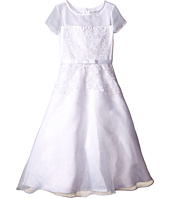 Us Angels - Short Sleeve Organza A-Line Dress w/ Embroidered Appliques (Little Kids/Big Kids)