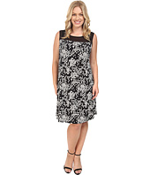 Vince Camuto Specialty Size - Plus Size Sleeveless Dotted Cityscape Dress with Chiffon Yoke