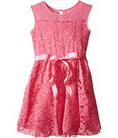 Us Angels - Lace Dress w/ Drop Shoulder Illusion Neckline w/ Belt & Full Skirt (Big Kids)