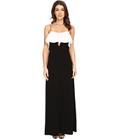 JILL JILL STUART - Spagetti Strapped Front Ruffled with Peekaboo Front Cut Out Gown