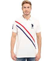 U.S. POLO ASSN. - Tri-Color Diagonal Stripe Pique Polo Shirt