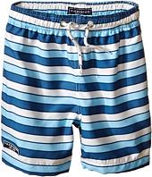 Toobydoo - Multi Stripe Blue/White Lace Drawstring Swim Shorts (Infant/Toddler/Little Kids/Big Kids)