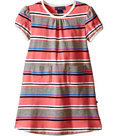 Toobydoo - Short Sleeve Dress w/ Grey/Pink/Navy (Infant/Toddler)