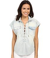 Blank NYC - Oversized Short Sleeve Tie-Up Denim Shirt