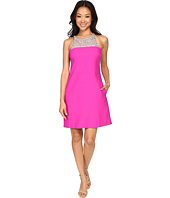 Aidan Mattox - A-Line Crepe Dress with Beaded Necklace Detail