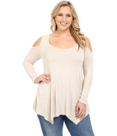 Christin Michaels - Plus Size Rylan Ribbed Cold Shoulder Top